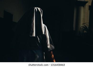 DAMAN, INDIA - November 28, 2017: Nun Walks into School