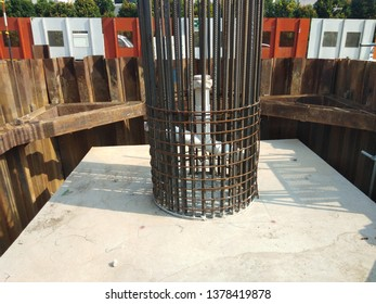 Damansara, Malaysia. Feb 26 2019. Reinforcement bars of column for one of biggest project in Malaysia. Photo shows the column stater bar on the pilecap.