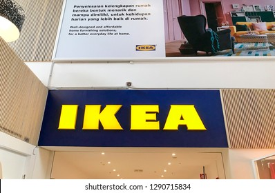 Damansara, Malaysia - January 21, 2019; Large IKEA signboard at IKEA store in Damansara, Selangor, Malaysia. IKEA was founded in Sweden in 1943, IKEA is the world's largest furniture retailer.