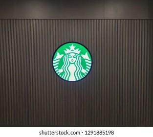 Damansara, Malaysia - January 21, 2019; Starbucks logo, Starbucks is one of the most popular coffee house in Malaysia. Selective focus.