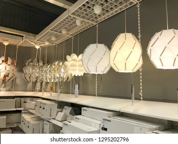 Damansara, Malaysia - January 21, 2019; Lamps and fixtures in the Ikea store. Ikea store is the world's largest furniture retailer.