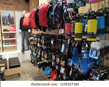 Damansara ,Selangor ,Malaysia - August 2018 : The Salomon store at Ecurve shop,Malaysia.The Salomon Group is a sports equipment manufacturing company that originated in Annecy, France.