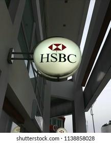 Damansara, Selangor, Malaysia - July 18, 2018 : HSBC bank logo at Damasara. HSBC Holdings plcis a British multinationalbanking and financial servicesholding company.