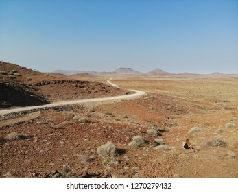 Damaraland of Northern Namibia dry arid landscape with road and low vegetation
