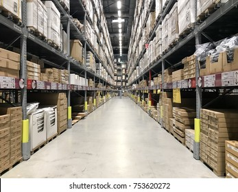 DAMASARA UTAMA, SELANGOR MALAYSIA - 12 November 2017: Warehouse aisle in an IKEA store. Founded in 1943, IKEA is the world's largest furniture retailer. IKEA operates 351 stores in 43 countries.