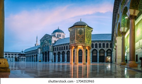 Damascus / Syria - 02/03/2020 :Panoramic photo of the Great Mosque Of The Umayyads in Damascus / Syria  located in the old city of Damascus. one of the largest and oldest mosques in the world.