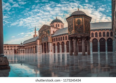 Damascus / syria - 08/19/2017 :Panoramic day photo of the Great Mosque Of The Umayyads in Damascus / Syria  located in the old city of Damascus. one of the largest and oldest mosques in the world.