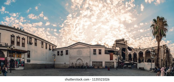 Damascus / Syria - 19/08/2017: Panoramic sunset view  of The Temple of Jupiter which was built by the Romans. near the Umayyad Mosque and Al Hamidiyah market in the old city of Damascus, Syria.