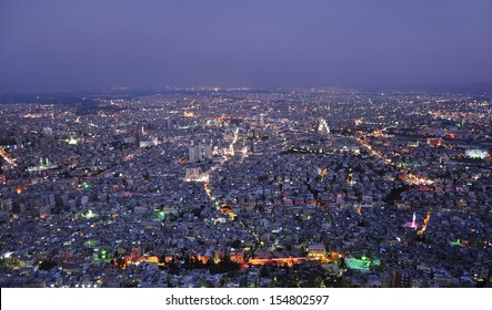 Damascus, Syria, aerial night view from Qasioun mount