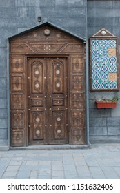 Damascus / Syria - April 18, 2009 : A beautiful  antique wooden door in Damascus old town, Syria