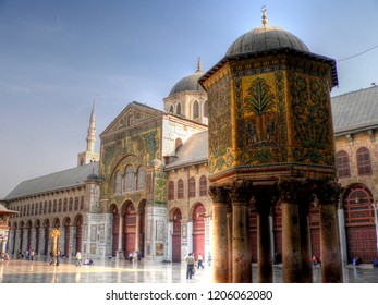DAMASCUS, SYRIA - APRIL 19, 2014: Panoramic day photo of the Great Mosque Of The Umayyads located in the old city of Damascus. one of the largest and oldest mosques in the world.