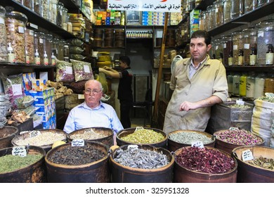 Damascus, Syria, CIRCA September 2013. A variety of products sold on the streets and markets of Damascus