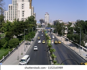 Damascus, Syria - July 7, 2004: A road in the heart of Damascus