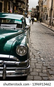Damascus, Syria - March 10, 2011: Classic car parked in street in old city Damascus, Syria