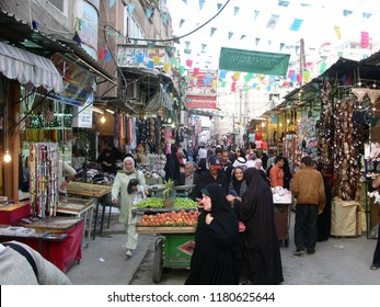 Damascus, Syria - March 11, 2003: A street in the Sayyida Zaynab area in Damascus