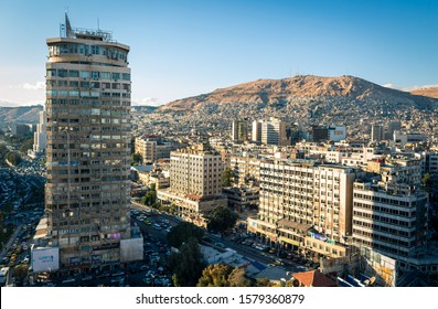 Damascus tower and Al Thawra Street in Damascus (Syrian Arab Republic) after war ended in 02.12.2019