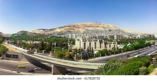 Damascus,Syria October-03-2010: a panorama of mount Qasioun overlooking the city of Damascus, Syria.