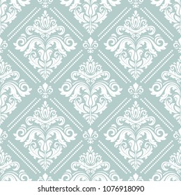 Damask classic pattern. Seamless abstract light blue and white background with repeating elements. Orient background