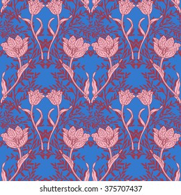 Damask floral seamless background illustration. Tulips and branches.