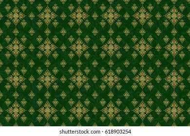 Damask raster classic golden pattern. Seamless abstract elements in golden colors on green background. Orient background with golden repeating elements.