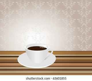 Damask seamless background and cup of coffee.