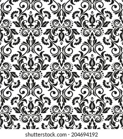 Damask seamless floral pattern. Royal wallpaper. Flowers on a black and white background.