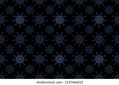 Damask seamless pattern in blue and violet colors. Hand drawn illustration. Design for fabric, wallpaper, background, invitation, wrapping and book covers. Oriental style. Raster vintage ornament.