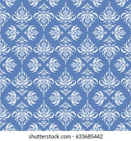 Damask seamless pattern. Classical luxury old fashioned damask ornament, royal victorian seamless texture for wallpapers, textile, wrapping. Exquisite baroque template in white and blue colors.