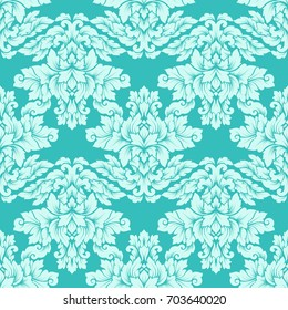 Damask seamless pattern intricate design. Luxury royal ornament, victorian texture for wallpapers, textile, wrapping. Exquisite floral baroque lacy flourish in soft mint green colors.