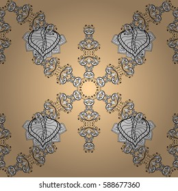 Damask seamless pattern repeating background. Golden beige floral ornament in baroque style. Antique golden repeatable wallpaper. Golden element on beige background.