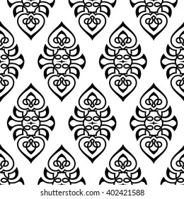 Damask white and black seamless ornament.Traditional seamless pattern..Floral  seamless pattern.Victorian seamless pattern.Indian seamless pattern.Arabic ornament.Texture for wallpapers.