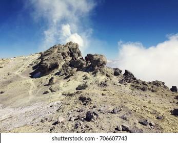 DAMAVAND MOUNTAIN, IRAN - October, 2016: Climbers reaching the summit of Damavand mountain, 5671 m, Iran on October, 2016