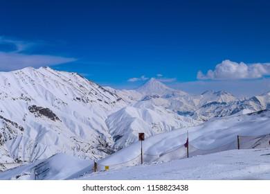 Damavand mountain peak view from dizin ski resort. north of Tehran, Iran. Alborz Mountains