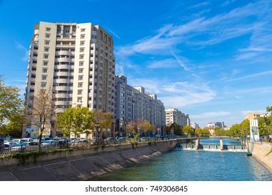 Dambovita river in a summer day in Bucharest, Romania