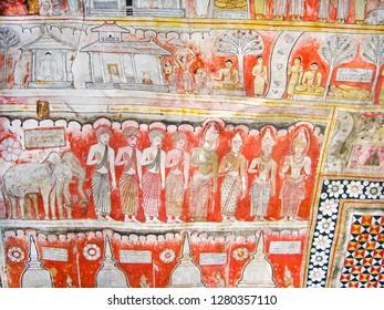 DAMBULLA, SRI LANKA - AUG 9, 2005: religious Paintings Inside of Rock Temple in Dambulla, Sri Lanka.