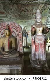 DAMBULLA SRI LANKA - CIRCA 2014 - Ancient Buddha statues in the UNESCO world heritage Dambulla Cave temple