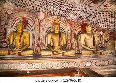 DAMBULLA SRI LANKA - DEC 27, 2016: Buddha statues inside Dambulla Cave Temple. Cave Temple is a World Heritage Site near Dambulla city on Dec 27, 2016. Sri Lanka.