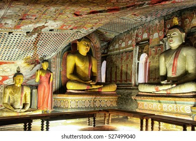 DAMBULLA, SRI LANKA - DECEMBER 1: Interior of Dambulla Golden Temple on December 1, 2011  in Dambulla, Sri Lanka. It is the largest and best preserved cave temple complex in the country.