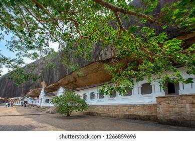 Dambulla, Sri Lanka - December 15, 2018: Historical Dambulla cave temple, in Dambulla, Sri Lanka