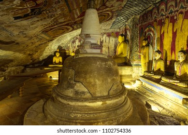 DAMBULLA, SRI LANKA - FEBRUARY 10, 2017. The golden temple of Dambulla is world heritage site and has a total of 153 Buddha statues, three statues of Sri Lankan kings and four statues of gods