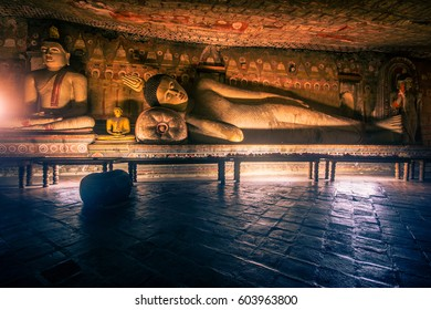 DAMBULLA, SRI LANKA - JANUARY 26, 2017: Cave in Dambulla, Sri Lanka. Cave temple built under 5 big caves in first century BC by the King Walagamba who used to stay hidden from enemy army
