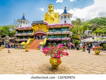 Dambulla  Sri Lanka July 28 2017 -Golden Buddha statue on the Golden Temple of Dambulla in Sri Lanka