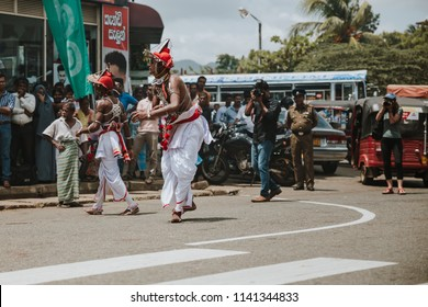 Dambulla, Sri Lanka - June 24 2018: Traditional Cultural Dances of Sri Lanka performed in the street of Dambulla, to honor and welcome a political visit.