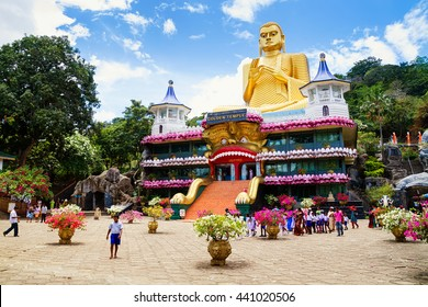 DAMBULLA, SRI LANKA - MARCH 20: The Golden Temple Dambulla on March 20, 2013 in Dambulla, Sri Lanka. The Temple is the UNESCO World Heritage Site.