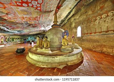 DAMBULLA, SRI LANKA - SEPTEMBER 21, 2018: Historical Dambulla cave temple, in Dambulla, Sri Lanka