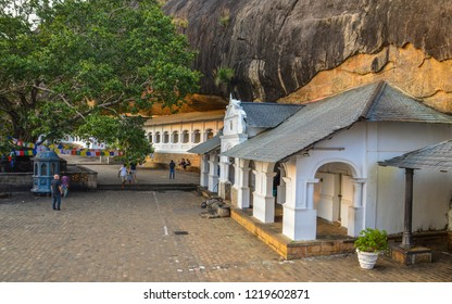 Dambulla/Sri Lanka - 01/20/2018: Dambulla is the largest and best-preserved cave temple complex in Sri Lanka. There are 153 Buddha statues, 3 statues of Sri Lankan kings and 4 statues of gods.