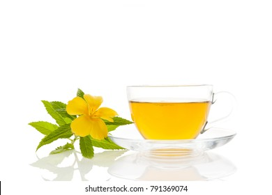 Damiana flower, leaves and tea isolated on white background.