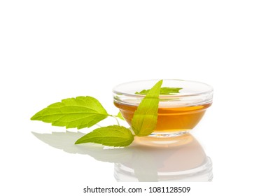 Damiana tea in glass cup with fresh turnera diffusa leaves isolated on white background.