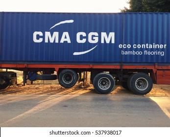Damietta, Egypt - December 16, 2016 : CMA CGM container on truck.