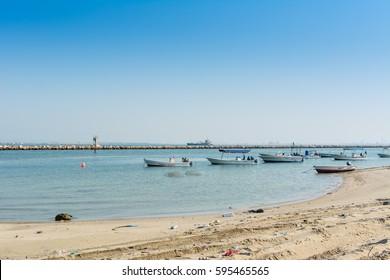 Dammam, Saudi Arabia, January 7th, 2017, Fishing boat sailing at the sea in the corniche park, the city of Dammam, Kingdom of Saudi Arabia.